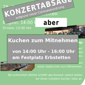 Read more about the article Konzert abgesagt – Kuchen ToGo